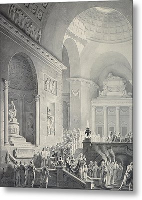 Scene In A Classical Temple  Funeral Procession Of A Warrior Metal Print by Joseph Charles Barrow