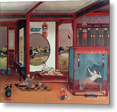 Scene Of An Interior Metal Print by Chinese School