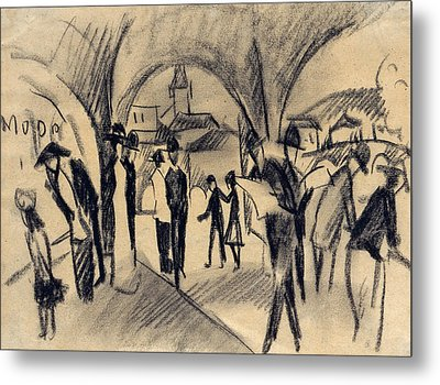 Scene Under The Arcades In Thun Metal Print by August Macke