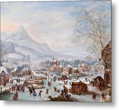 Scene With Skaters Metal Print by Mountain Dreams