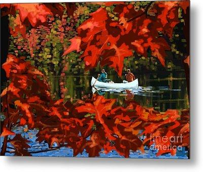 Scenic Autumn Canoe  Metal Print by Sassan Filsoof