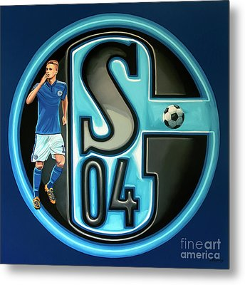 Schalke 04 Gelsenkirchen Painting Metal Print by Paul Meijering
