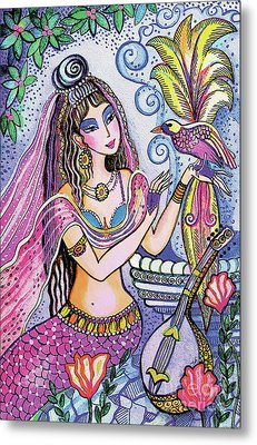 Metal Print featuring the painting Scheherazade's Bird by Eva Campbell
