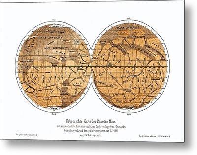 Schiaparelli's Map Of Mars, 1877-1888 Metal Print by Detlev Van Ravenswaay