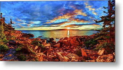 Schoodic Point Sunset Metal Print by ABeautifulSky Photography