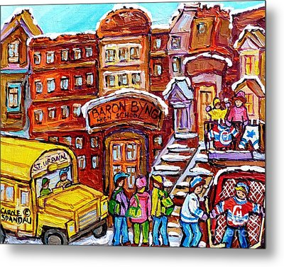 School Bus Rue St Urbain Baron Byng High Montreal 375 Hockey Art Colorful Street Scene Painting      Metal Print