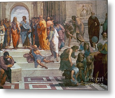 School Of Athens, Detail From Right Hand Side Showing Diogenes On The Steps And Euclid Metal Print
