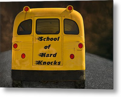School Of Hard Knocks - Yellow School Bus Message Metal Print by Mitch Spence
