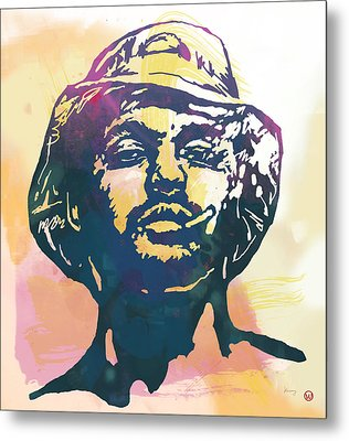 Schoolboy Q Pop Stylised Art Poster Metal Print