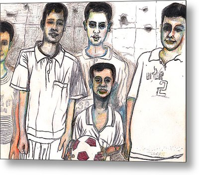 Metal Print featuring the drawing Schoolyard Chums by Al Goldfarb