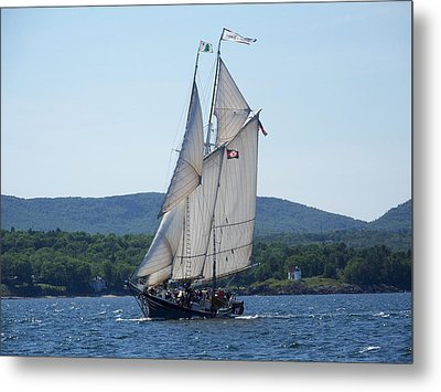 Schooner Lewis R French Sailing Along Metal Print by Joseph Rennie