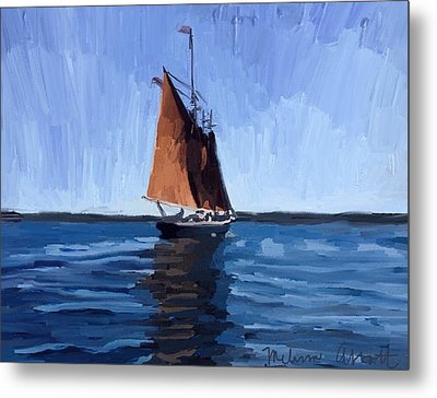 Schooner Roseway In Gloucester Harbor Metal Print by Melissa Abbott