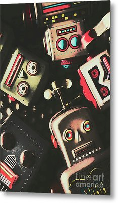 Science Fiction Robotic Faces Metal Print