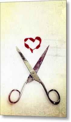 Scissors And Heart Metal Print by Joana Kruse