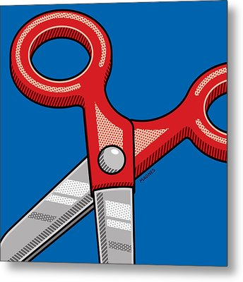 Metal Print featuring the digital art Scissors by Ron Magnes