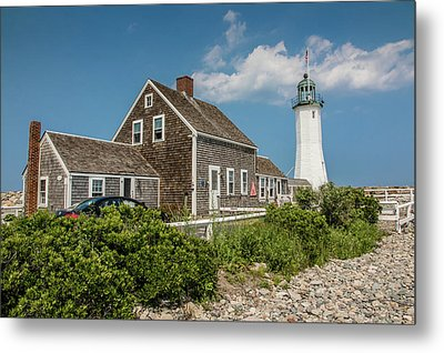 Scituate Lighthouse In Scituate, Ma Metal Print