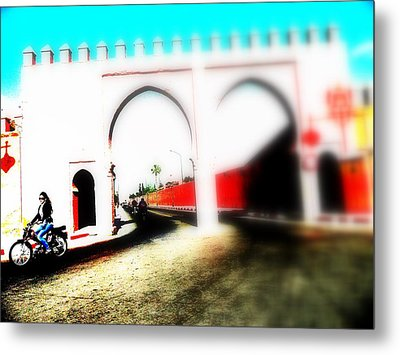 Scootering Through A Medina Gate  Metal Print by Funkpix Photo Hunter
