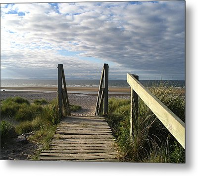 Scotland Findhorn Boardwalk Metal Print by Yvonne Ayoub