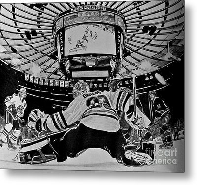 Metal Print featuring the drawing Scott Darling - First Nhl Shutout by Melissa Goodrich