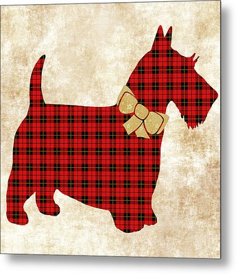 Metal Print featuring the mixed media Scottie Dog Plaid by Christina Rollo