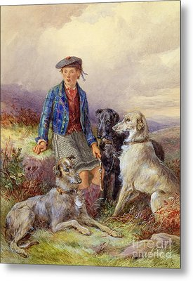 Scottish Boy With Wolfhounds In A Highland Landscape Metal Print