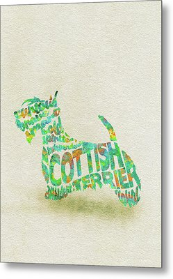 Metal Print featuring the painting Scottish Terrier Dog Watercolor Painting / Typographic Art by Inspirowl Design