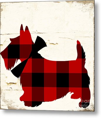 Scottish Terrier Tartan Plaid Metal Print