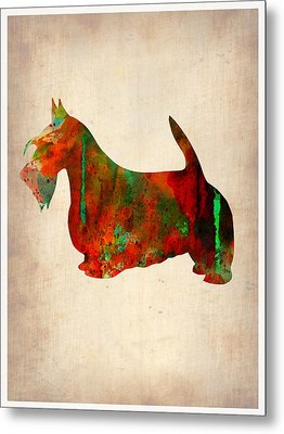 Scottish Terrier Watercolor 2 Metal Print by Naxart Studio