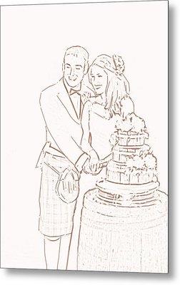 Metal Print featuring the drawing Scottish Wedding by Olimpia - Hinamatsuri Barbu