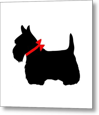 Scotty Dog With Red Bow Metal Print