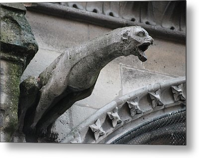 Metal Print featuring the photograph Screaming Griffon Notre Dame Paris by Christopher Kirby