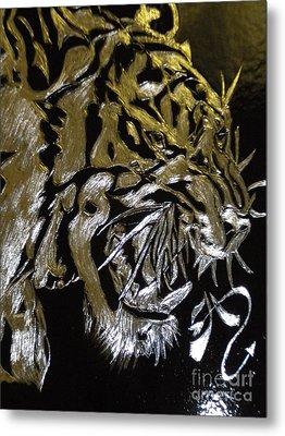Screaming Tiger Metal Print