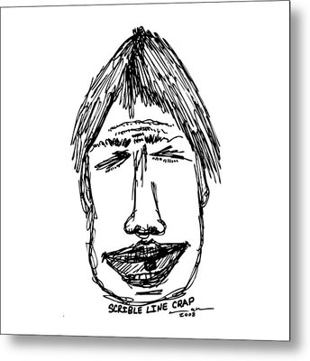 Scribble Line Face Metal Print by Karl Addison