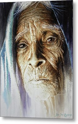 Metal Print featuring the painting Scripts Of Ancestral Light  by J- J- Espinoza