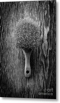 Scrub Brush Up Bw Metal Print
