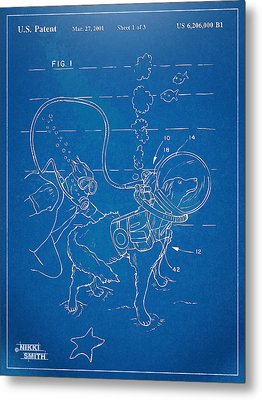 Scuba Doggie Patent Artwork 1893 Metal Print by Nikki Marie Smith