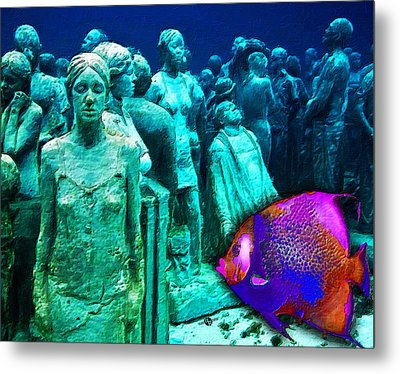 Sculpture Underwater With Bright Fish Painting Musa Metal Print by Tony Rubino