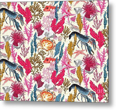 Sea Bed Repeat Pattern Metal Print by Jacqueline Colley