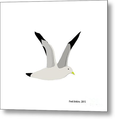 Sea Gull Flying Metal Print by Fred Jinkins