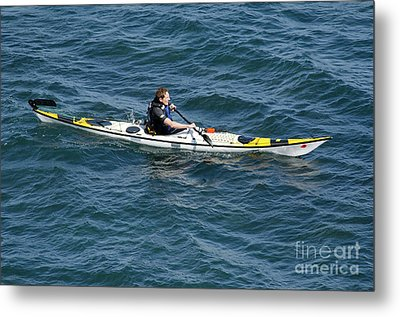 Sea Kayak Man Kayaking Off The Coast Of Dorset England Uk Metal Print by Andy Smy