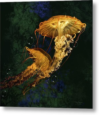 Metal Print featuring the digital art Sea Nettle Jellies by Thanh Thuy Nguyen