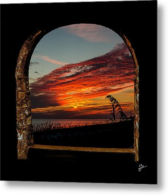 Sea Oats And Sunset Metal Print