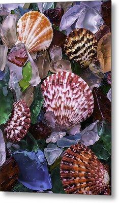 Sea Shells Among Sea Glass Metal Print by Garry Gay