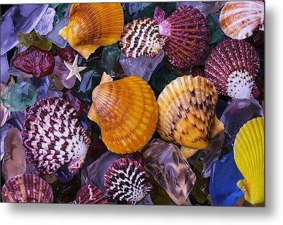 Sea Shells And Sea Glass Metal Print by Garry Gay