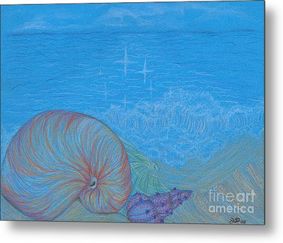 Metal Print featuring the drawing Sea Shore by Kim Sy Ok