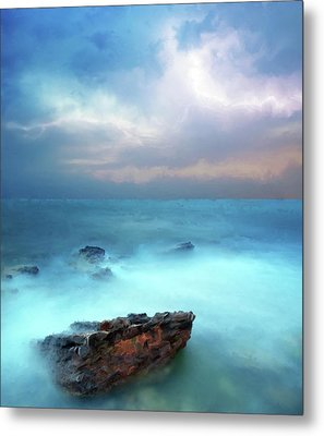 Sea Sky And Stone Metal Print by Michael Greenaway