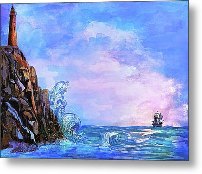 Metal Print featuring the painting Sea Stories 2  by Andrzej Szczerski