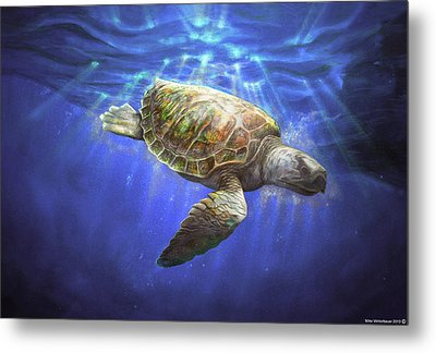 Sea Turtle 1992 Metal Print by Mike Winterbauer