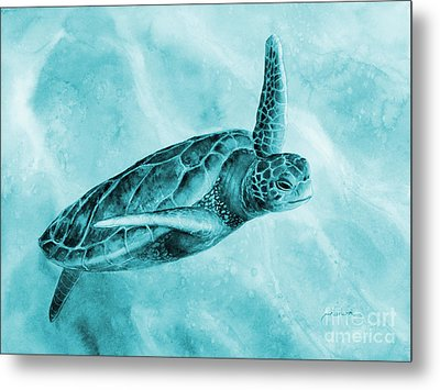 Sea Turtle 2 On Blue Metal Print by Hailey E Herrera