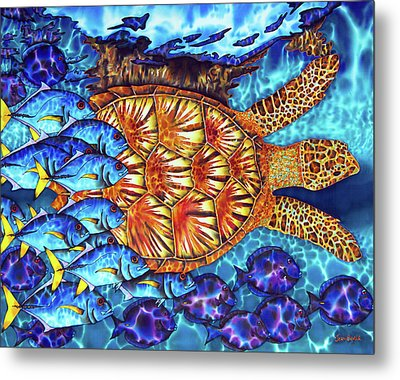 Sea Turtle And Fish Metal Print by Daniel Jean-Baptiste